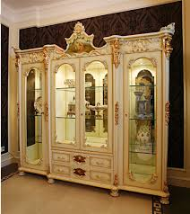 Living Room Display Cabinets French Rococo Style Wood Carved Double Door Corner Display Cabinet