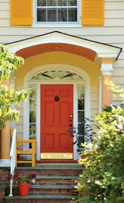 Orange front door Siding House Entrance With Orange Front Door Wearefound Home Design House Entrance With Orange Front Door Feng Shui For Your Front