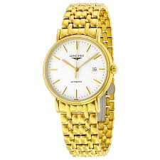 longines presence white dial yellow gold pvd steel men s watch longines presence white dial yellow gold pvd steel men s watch l49212128