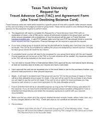 Texas Tech University Request For Travel Advance Card Tac