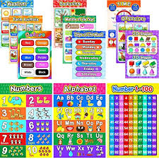 Educational Preschool Poster For Toddler And Kid With Glue Point Dot For Nursery Homeschool Kindergarten Classroom Teach Numbers Alphabet Colors