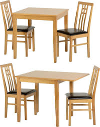 vienna dining table set with 2 chairs um drop leaf oak brown leather seats
