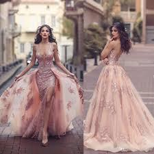 2017 Fashion Split Dresses Evening Wear With Detachable Skirt