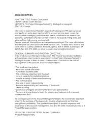 Marketing Coordinator Job Description Printable Experience And Executive Project Manager Resume For Job 4
