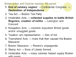 British Actions And Colonial Reactions Chart Unit 2 Road To The Revolution Ppt Download