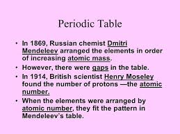Bell Work How do you think the periodic table is arranged and list ...