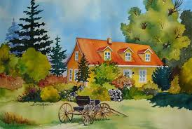 painting watercolor house