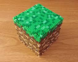 minecraft perler minecraft grass block 3d perler box