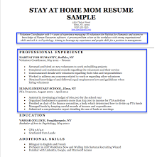 Resume Template. Resume Examples For Stay At Home Mom - Free Career ...