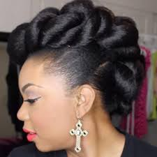 natural hair faux hawk updo