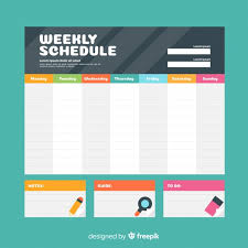 Design Schedule Template Colorful Weekly Schedule Template With Flat Design Vector