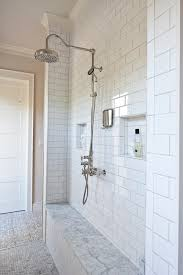 austin carrara marble subway tiles with freestanding bathroom vanities tops farmhouse and recessed shower niche bench