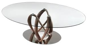 porada infinity table in clear top with walnut frame