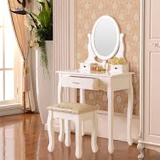 com elegance vanity makeup table set with stool 3 drawers oval mirror white kitchen dining