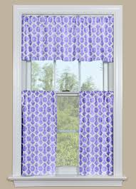 Geometric Patterned Curtains Retro Kitchen Curtain Valance And Tier Pair In Purple And White