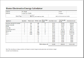 Electricity Cost Chart Electric Energy Cost Calculator Template For Excel Excel