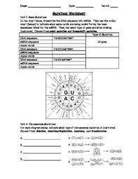 Dna Sequence Chart Genetic Mutations Worksheet Using A Codon Chart Dna