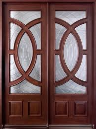 Modern Front Door Custom Double Solid Wood With Dark Mahogany