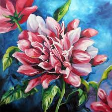 evening dahlia finished flower paintings fl artwork by texas artist laurie pace by laurie justus