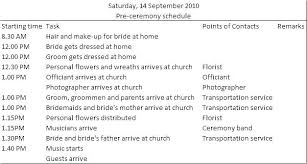 Bridal Party Itinerary Template Jaxos Co