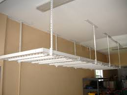 Small Spaces Garage Makeover Design With White 4x8 Overhead Storage Rack Shelves  Hanging From Ceiling Ideas