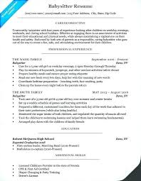Resumes For Babysitters Resume Babysitting Duties For A Babysitter Orlandomoving Co