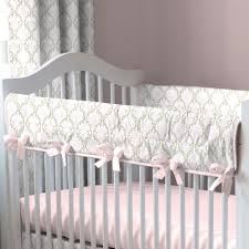 pink and taupe damask baby crib bedding