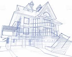 House Blueprint Technical Concept Draw Stock Photo