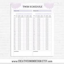 Instant Download Twin Feeding Schedule Baby Feeding Schedule For Twins Us A4 Sizes Included Print At Home
