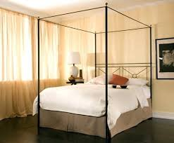 Wrought Iron Canopy Bed Queen Campaign Open Foot W Brass Ball ...