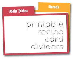 Recipe Cards Print Wild Olive Print Recipe Card Dividers