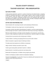 Cover Letter Preschool Teacher Assistant Job Description Resume