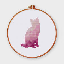 Cat Cross Stitch Patterns Extraordinary Violet Cat cross stitch pattern Geometric baby animal crosss stitch kit