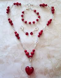 hand made red mountain jade crystal necklace glass heart pendant bracelet ear