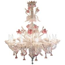20th century huge venetian murano chandelier with flowers