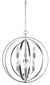 canarm meridian 6 light chain chandelier brushed nickel finish