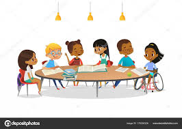 smiling disabled girl in wheelchair and her school friends sitting around round table reading books and