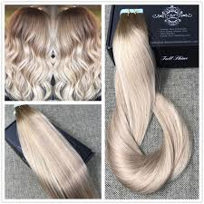 ash blonde highlighted tape hair extensions human hair balayage ship fromusa hot