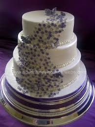 Purple And Silver Wedding Cake With Flowers Amp Butterflies