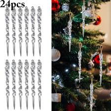 24pcs christmas icicle ornament diy party hanging decoration xmas tree ornament