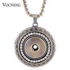 whole vocheng snap on bronze pendant necklace inlaid crystal 18mm interchangeable jewelry nn 474 gold pendant necklaces mens pendant necklaces from