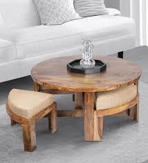 rus coffee table set in teak finish