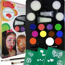 com weez face painting top color party pack for kids quality paint with stencils 4 sponges 2 glitter gels 2 brushes