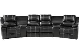 fenway heights black 5 pc leather sectional