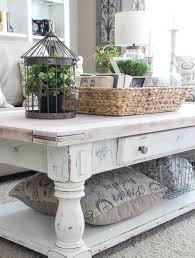distressed desk white cabinets wood table