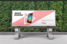 *** bench advertising mockup features: Bench Advertising Mockup In Outdoor Advertising Mockups On Yellow Images Creative Store