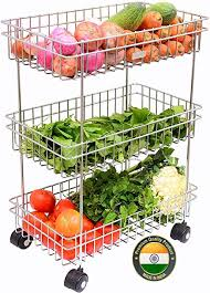 Swadhin 3 Layer Fruit and Vegetable Stand/Basket/<b>Trolley</b> Modern ...