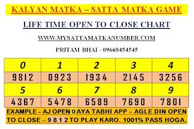 Kalyan Daily 4 Ank Life Time Chart Satta Matka Matka Trick Lifetime Matka Trick Evergreen