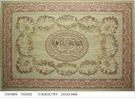 flat weave aubusson rug oversized 11 8 x 18 ivory field pink border 100 new zealand wool hand woven gc4aub145