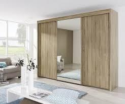 Rauch Imperial Sanremo Light Oak 3 Door Sliding Wardrobe With 1 Mirror W225cm